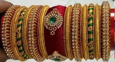 Green and Gold Combination Bangle Set Design