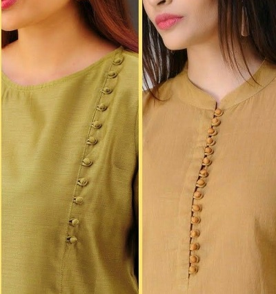 Kurti Neck Design with Potli Buttons
