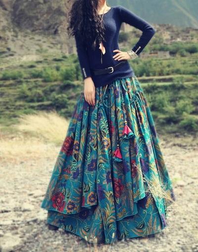 Layered Skirt in Long length