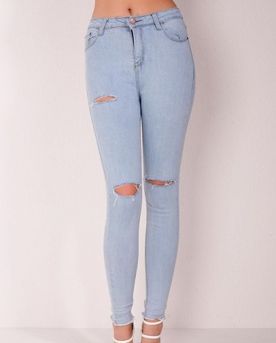 Lightly Ripped Jeans For Ladies