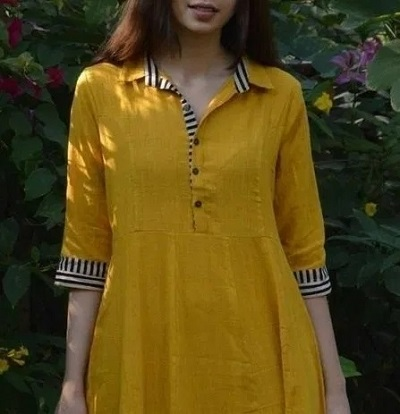 Neckline with Shirt Collared Design for Kurti