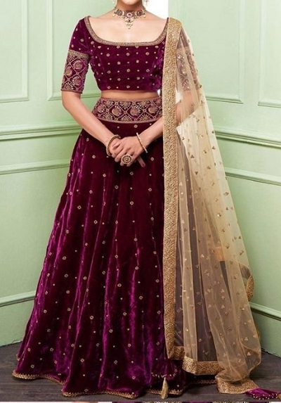 Purple Velvet Lehenga Design