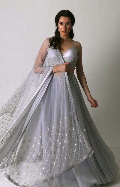 Silver Grey Lehenga with strappy Blouse