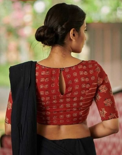 Simple Printed Red Cotton Saree Blouse