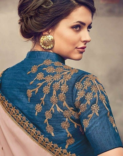 Stylish Art Silk Embroidered High Neck Blouse Design