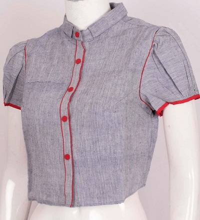 Collared Cotton Blouse In Shirt Style