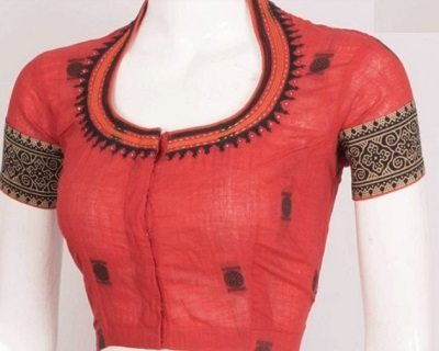 Comfortable Cotton Saree Blouse With Embroidery Work