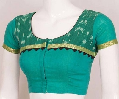 Cotton Blouse With Golden Border And Print