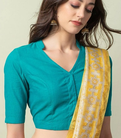 Half Collar Cotton Blouse For Everyday Wear