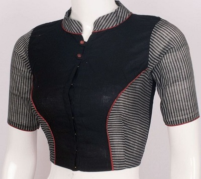 Simple Cotton Blouse With Patchwork And Collared Neckline