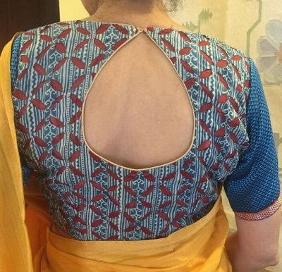 Stylish Cotton Blouse With Different Prints And Back Cut