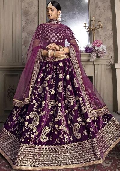 velvet lehenga choli designs in purple color