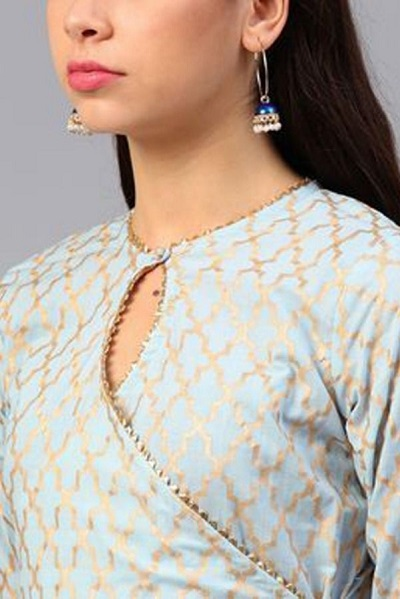 Keyhole and angrakha style Suit front neck design