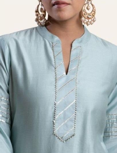 Mandarin Collar With Slit Suit Neckline