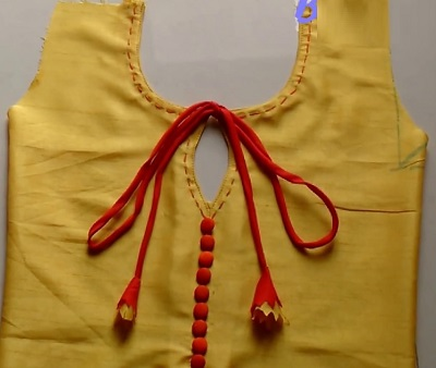Stylish Kurti Neckline With Buttons And Strings