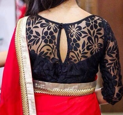 Black lace saree blouse design
