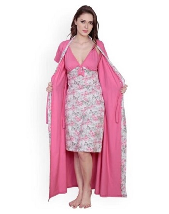 Stylish Lace Nighty With Robe