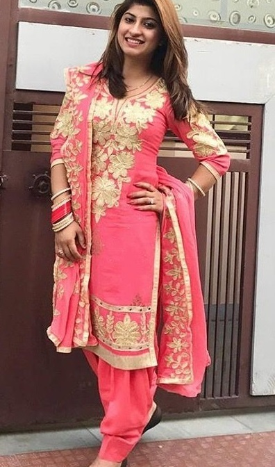 Carrot Pink Embellished Suit With Semi Patiala Salwar