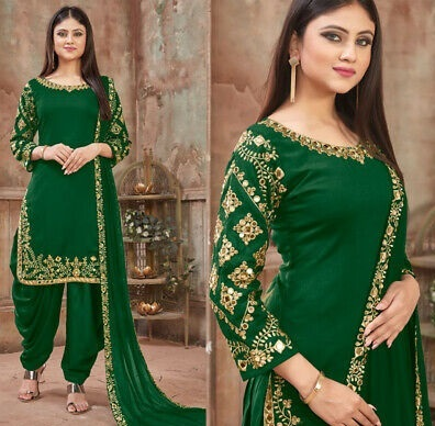 Dark green Punjabi suit with embroidery