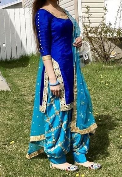 Designer blue Punjabi suit style