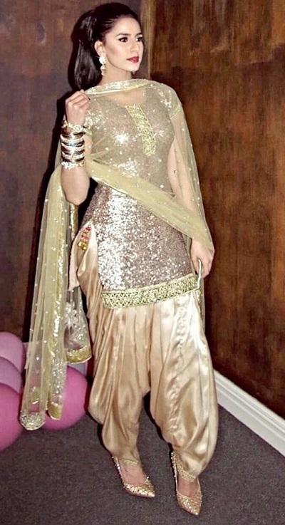 Golden boutique style Punjabi salwar suit