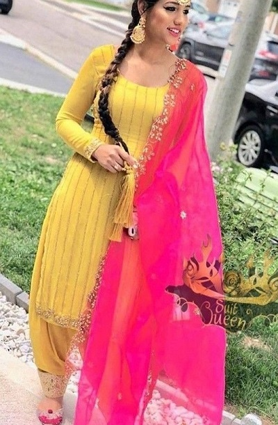 Gota Work Yellow And Pink Salwar Suit For Parties