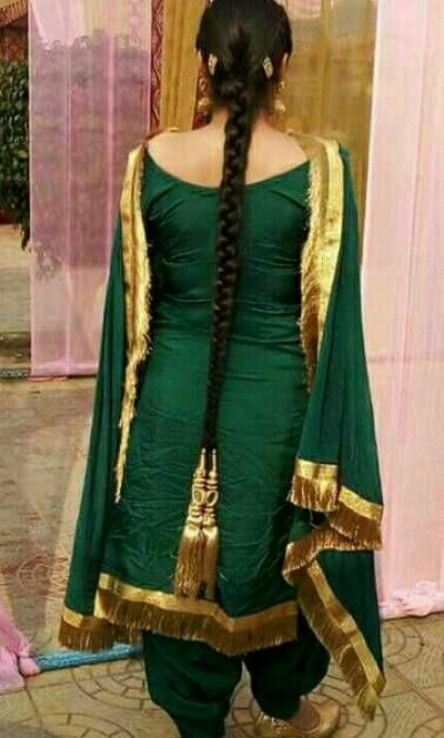 Green Punjabi Suit With Golden Border
