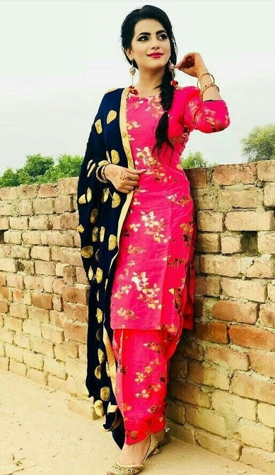 Red Punjabi Style Suit With Dupatta