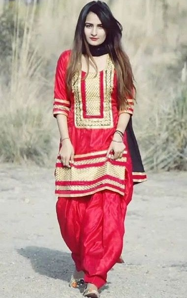 Red Suit With Full Flair Patiala Salwar