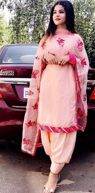 Simple Cotton Blush Pink Suit With Printed Dupatta