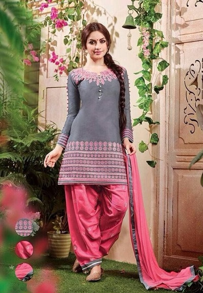 Simple Grey And Pink Short Punjabi Style Suit