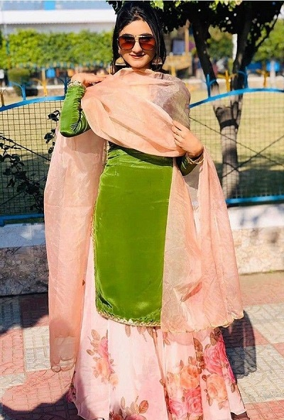 Velvet Green Kurti With Flared Sharara