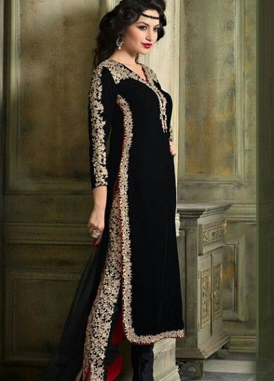 Velvet Long Kurti With Straight Fit Brocade Pants