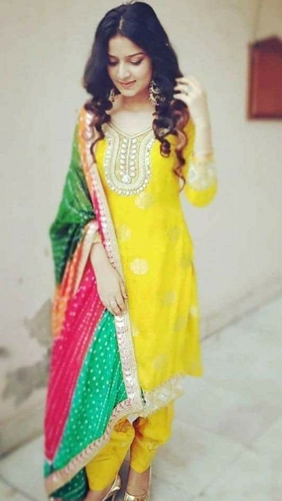 Yellow Suit With Multicolor Dupatta