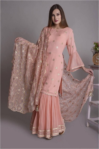 Blush Pink Suit With Heavy Gota Patti Work Dupatta
