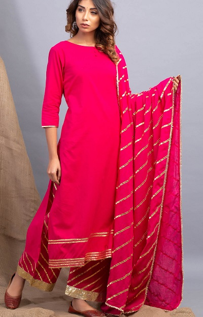 Bright Red Gota Patti Work Suit