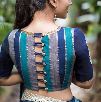 Button And Loop Style Back Neckline Design