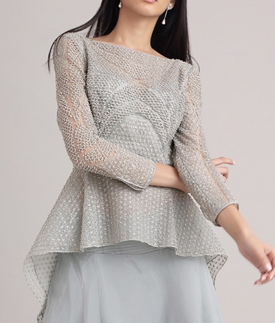 Delicate High Low Peplum Style Blouse