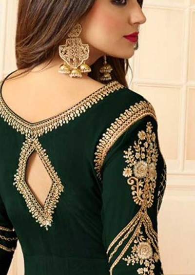 Diamond shape cut back neckline for salwar suit