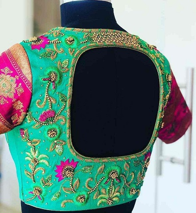 Geometric Cut At The Back Embroidered Blouse