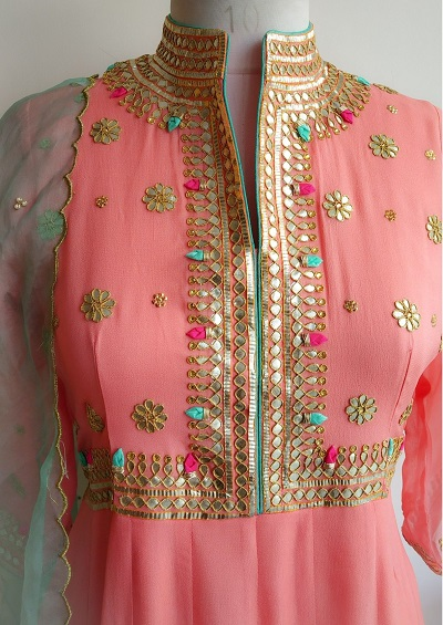 Gota Embellished Yoke Design Anarkali Kurti