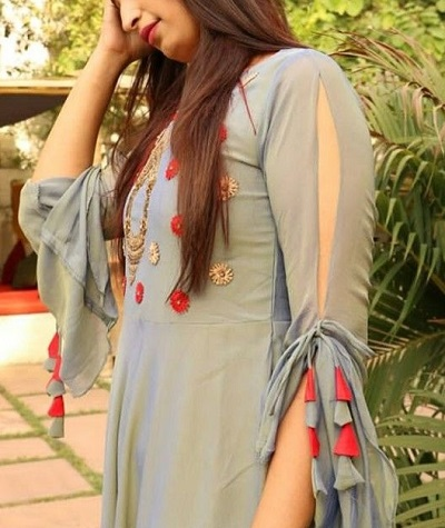 Kurti sleeves design with strings and slit
