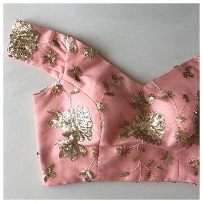 Off Shoulder Peach Sequined Blouse