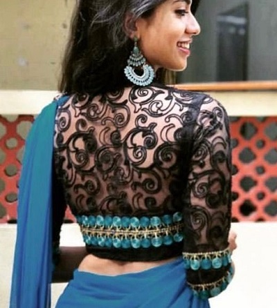 Party wear back lace work blouse