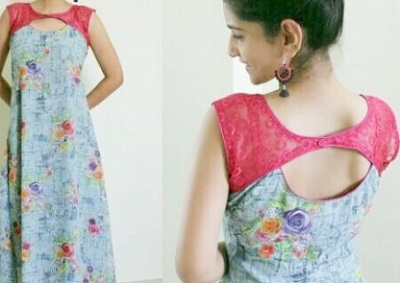 Patch Design Kurti back Neck Idea