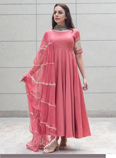 Pink Suit With Gota Work Dupatta