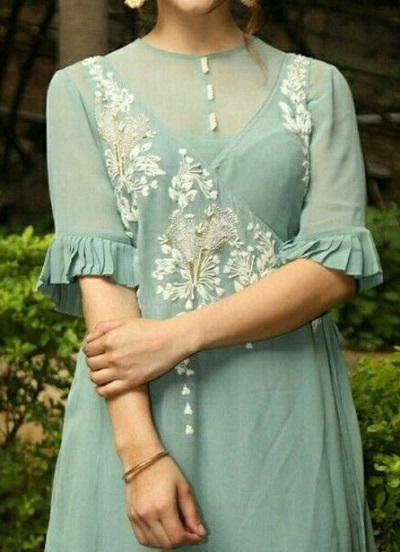 Pleated sheer fabric sleeves design
