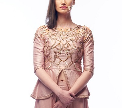 Rounded peplum embroidered blouse design
