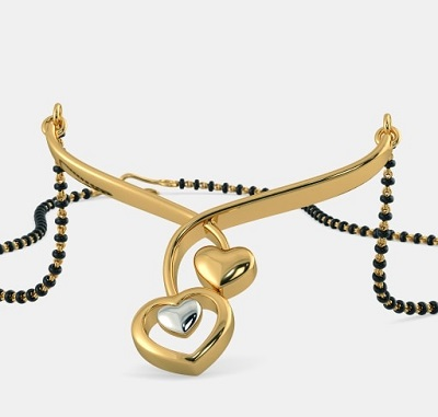 Simple Everyday Use Heart Shaped Mangalsutra Design