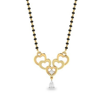 Simple Heart Inspired Mangalsutra In Gold And Diamond